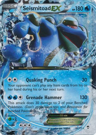 Seismitoad Ex 20 111 Ultra Rare Xy Furious Fists