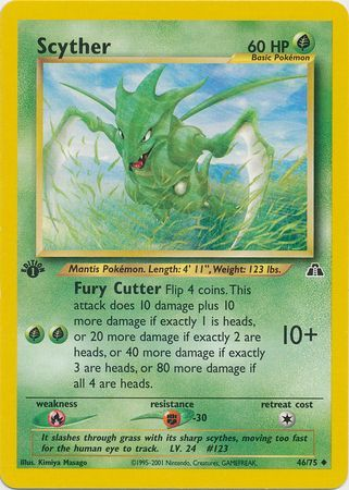NEAR MINT Scyther Uncommon 1st Edition 46//75