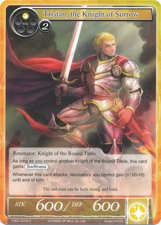 Force Of Will Knights Of The Round Table.Tristan The Knight Of Sorrow Vs01 014 Uncommon Force Of Will Starter Deck Faria The Sacred Queen And Melgis The Flame King Vs01 Force Of