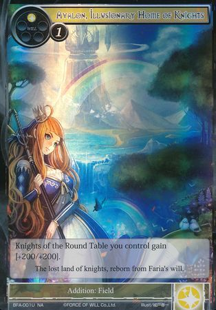 Force Of Will Knights Of The Round Table.Avalon Illusionary Home Of Knights Bfa 001 Uncommon Foil