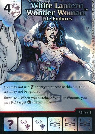 WHITE LANTERN WONDER WOMAN LIFE ENDURES 124 Dice Masters Foil Super Rare