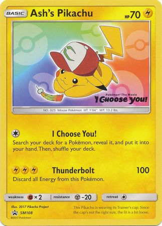 Ashs pikachu sm108 i choose you promo