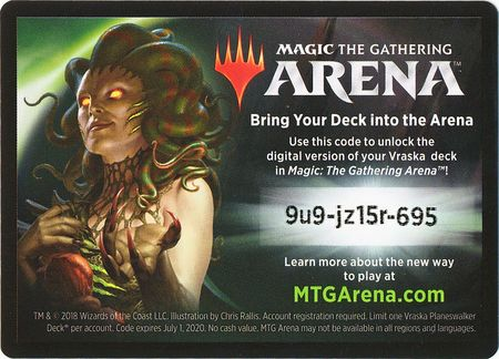 Guilds of Ravnica Vraska Planeswalker Deck Code Card (Magic: The Gathering  Arena)