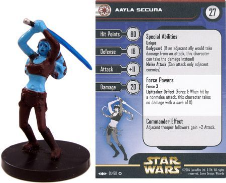Aayla Secura 01 Clone Strike Star Wars Miniatures Very Rare