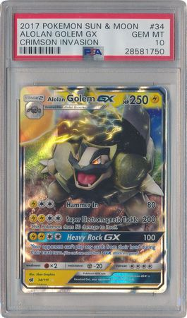 NM Pokemon ALOLAN GOLEM GX Card CRIMSON INVASION Set 34//111 Sun Moon SM Rare