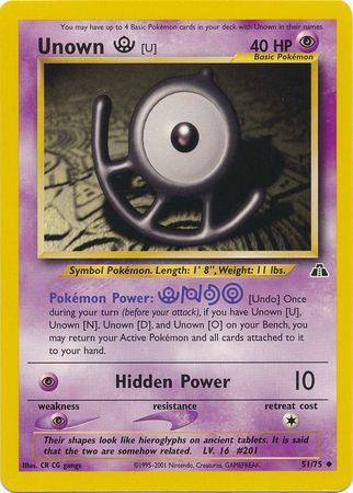 Details about 7x Unown U - 51/75 - Uncommon PL Neo Discovery Pokemon
