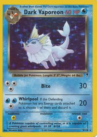 Dark Vaporeon 9 110 Holo Rare Legendary Collection