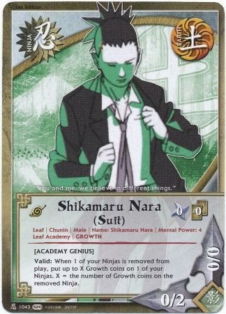 Shikamaru Nara (Suit) [Academy Genius] - 1043 - Common - Naruto: Tales of  the Gallant Sage - Naruto